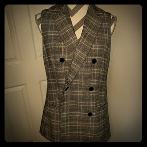 Who What Wear Plaid Double Breasted Vest